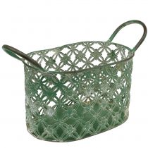 Metal basket oval with handle 25cm x 16.5cm H21cm green