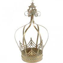 Decorative crown to hang, planter, metal decoration, Advent golden, antique look Ø19.5cm H35cm
