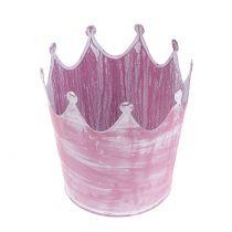 Metal crown Pink, White-washed Ø10cm H9cm 6pcs