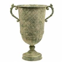 Decorative goblet with diamond pattern antique look metal moss green Ø24.5cm H45cm