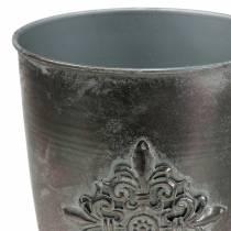 Decorative metal goblet with ornament silver gray Ø16.5cm H31cm