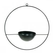 Plant pot for hanging black metal ring Ø38cm with bowl Ø15cm