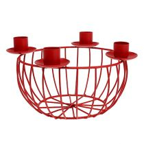 Metal bowl with 4 candle holders red Ø22cm