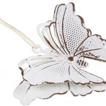 Metal butterfly for hanging white 7cm 6pcs
