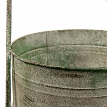 Metal stand with planting bowls gray, green H68cm
