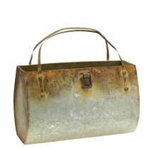 Planter bag metal gray / rust H16cm