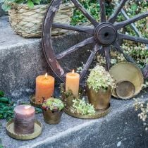Metal plate for decorating, table decorations, candle tray round golden antique look Ø7.5 / 10/12/15 / 18cm H2cm set of 5