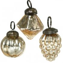 Mini tree balls, diamond / ball / cone, tree hangings mix antique look Ø3–3.5cm H4.5–5.5cm 9pcs