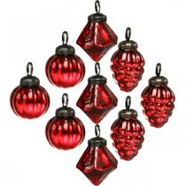 Mini tree decoration mix, diamond / ball / cone, glass balls antique look Ø3–3.5cm H4.5–5.5cm 9pcs