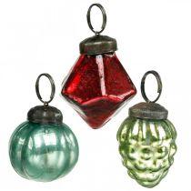 Mini Christmas tree ball mix, diamond / ball / cone, glass balls antique look Ø3–3.5cm H4.5–5.5cm 9pcs