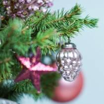 Mini Christmas tree decorations mix 4.5cm silver, pink assorted 10pcs