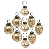 Mini glass ball mix, diamond / ball / cone, tree decorations, antique look Ø3–3.5cm H4.5–5.5cm 9pcs