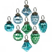 Mini glass ball mix, diamond / ball / cone, Christmas tree decorations antique look Ø3–3.5cm H4.5–5.5cm 9pcs