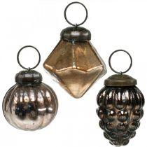 Mini Christmas balls, diamond / ball / cone, glass pendants mix antique look Ø3–3.5cm H4.5–5.5cm 9pcs