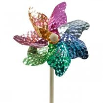 Windmill, summer decoration, pinwheel on the rod colored, decoration for children's birthday party Ø16cm 4pcs