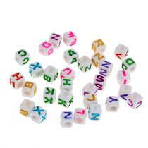 Mini cube with letters 7mm colored 90g