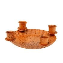 Mini bowl with 4 tree candle holders Ø10cm brown