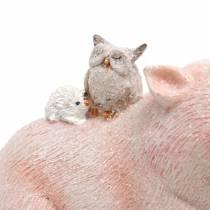 Decorative figure set piggy with animal friends 9.3cm × 7.5 / 8.5cm 2pcs