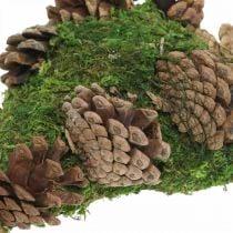 Grave decoration moss heart with cones for funeral arrangement 20 × 13cm