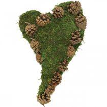 Grave decoration heart moss and cones arrangement base 30 × 19cm
