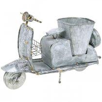 Flower pot motor scooter metal vintage white washed 35 × 12 × 23cm