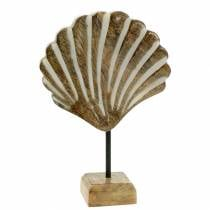 Shell with base wood white, natural 20 × 14cm Maritime decoration for the living room