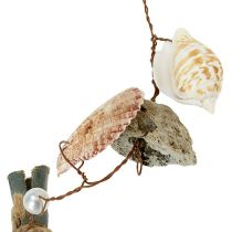 Shell garland with stones natural 100cm