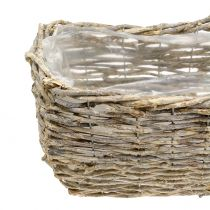 Rectangular plant basket, natural-white washed L33cm, set of 3