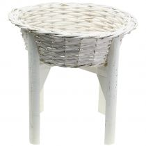 Basket bowl with wooden stand White Ø40cm H10cm
