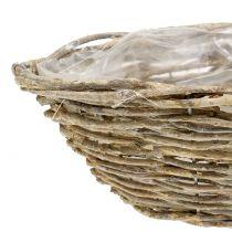 Basket ship for planting nature white washed L34cm