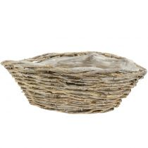 Basket ship for planting nature white washed L34cm