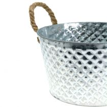 Zinc shell round with rope handles Ø28cm H16cm