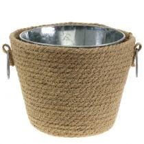 Zinc pot with jute pot Ø13cm H12cm