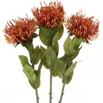 Pincushion exotic artificial flower Orange Leucospermum 73cm 3pcs