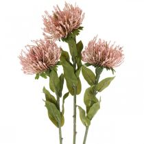 Autumn flower pincushion artificial Protea Rosa Leucospermum 73cm 3pcs