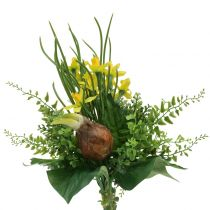 Daffodil bouquet artificial with twigs and onions 38cm