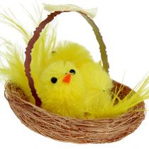 Decorative Nest with Chenille Chicks Yellow 5cm 4pcs