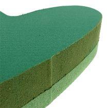 Plug size heart floral foam green 24cm x 25cm 2pcs