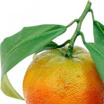 Decorative fruits, oranges with leaves, artificial fruits H9cm Ø6.5cm 4pcs