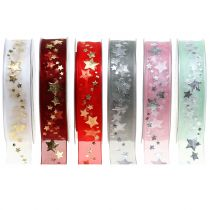 Deco ribbon organza with star motif 25mm 20m
