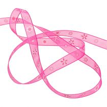 Organza ribbon pink with pattern 10mm 20m