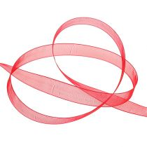 Organza ribbon with selvedge 1,5cm 50m red