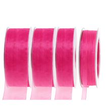 Organza ribbon with selvedge 50m Pink