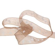 Organza ribbon with butterfly Brown 25mm 20