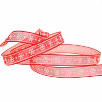 Organza ribbon with snowflake red 10mm 20m