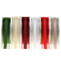 Organza ribbon with stripe pattern 25mm 20
