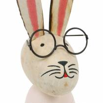 Easter decoration, bunny with glasses, spring decoration, metal bunny, table decoration