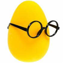 Yellow Easter egg with glasses, flocked decoration egg, Easter decoration