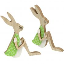 Wooden Easter Bunny sitting 11cm 8pcs