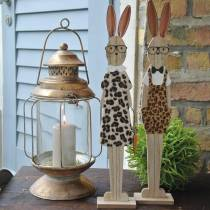 Easter bunny, leopard skin and wooden glasses Has Easter decoration, set of 2